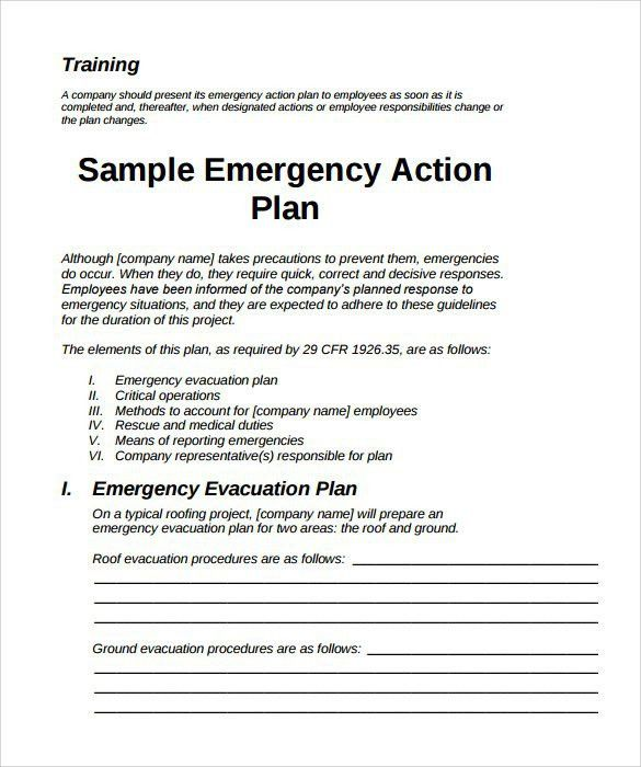 Emergency Response Plan Template. Emergency Action Plan Template ...