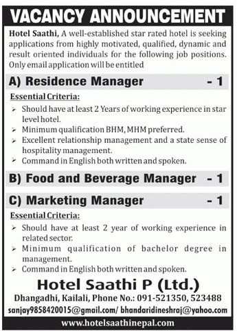 Residence Manager/Food and Beverage Manager/Marketing manager ...