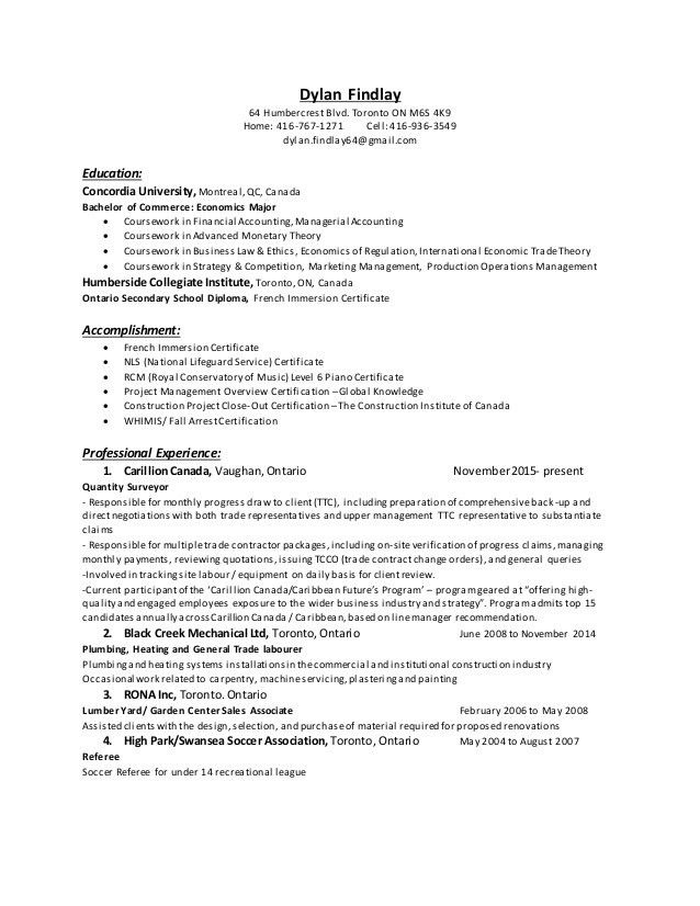 Dylan Findlay - Cover Letter and Resume
