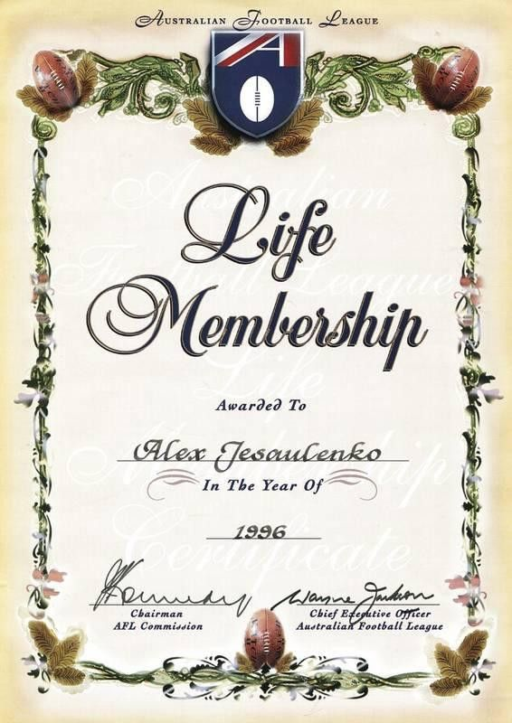 ALEX JESAULENKO'S AFL LIFE MEMBERSHIP CERTIFICATE - Current price ...