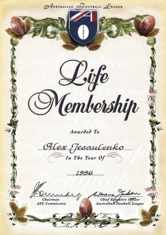 ALEX JESAULENKO'S AFL LIFE MEMBERSHIP CERTIFICATE - Current price ...