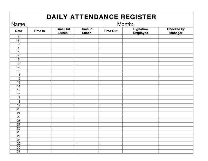 The 25+ best Attendance register ideas on Pinterest   Attendance ...