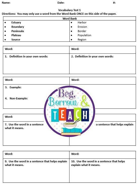 Beg, Borrow, and Teach!: Vocabulary Test Template | Vocabulary ...