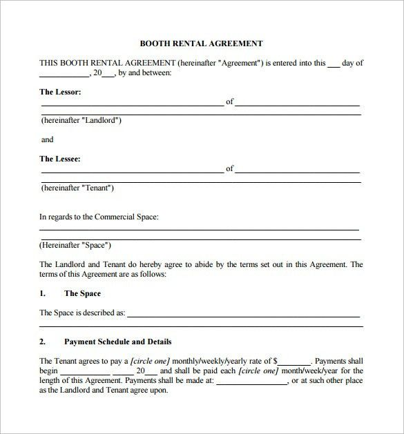 Sample Booth Rental Agreement - 8+ Documents in PDF
