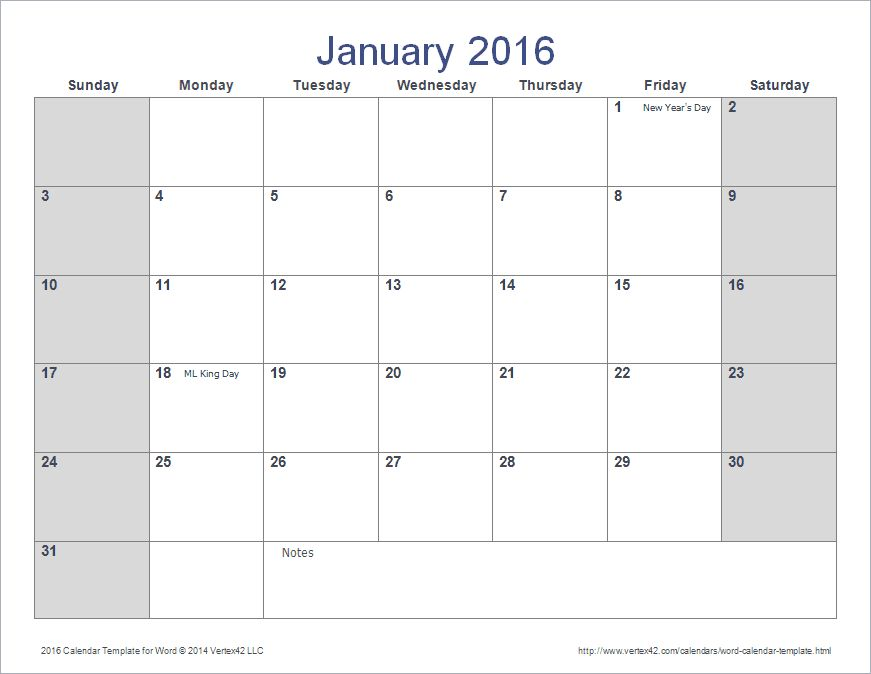 2016-word-calendar-templates
