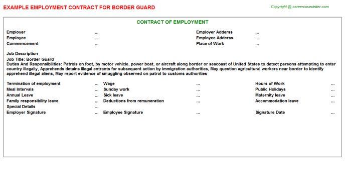 Border Guard Job Title Docs