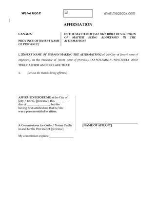 Canada Affidavit and Declaration Forms | Legal Forms and Business ...