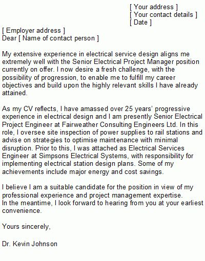 Electrical Engineer Cover Letter - My Document Blog