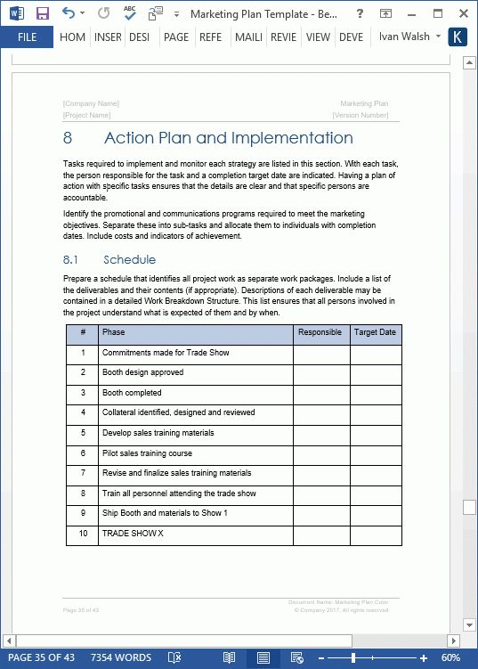 Marketing Plan Template - 40 page MS Word template and 10 Excel ...