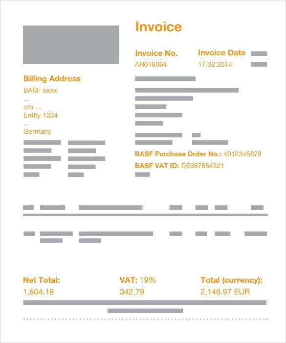 Sample Standard Invoice Template - 8+ Download Free Documents In ...