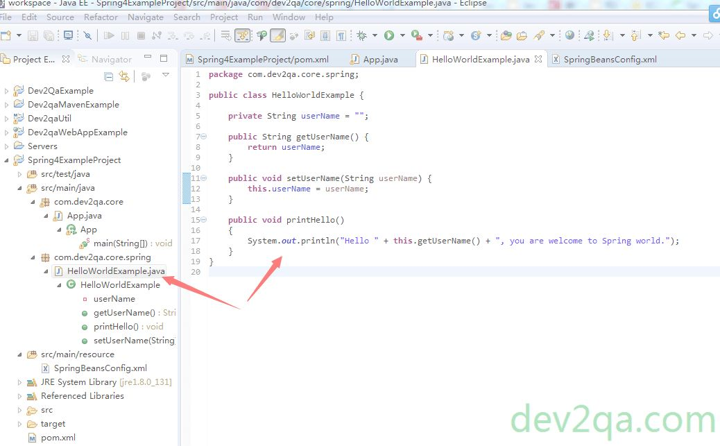 Spring Hello World Example Use Maven And Eclipse -