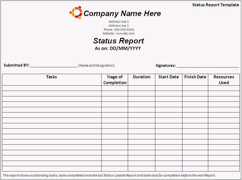 Project management Status Report Template Word | WordXerox