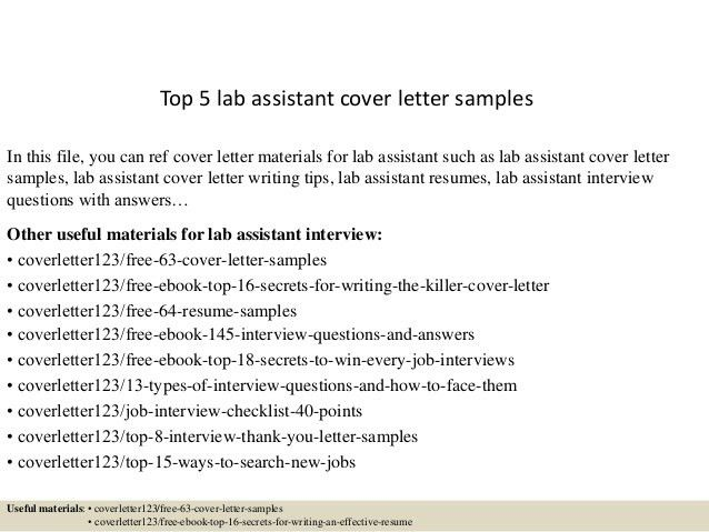 cover letter lab assistant cover letter lab technician cover