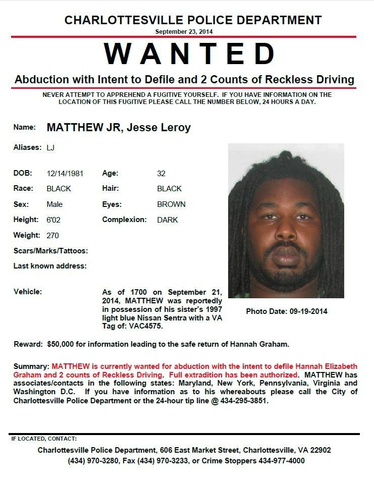 Jesse Matthew Jr. wanted for abduction of Hannah Graham | WTKR.com