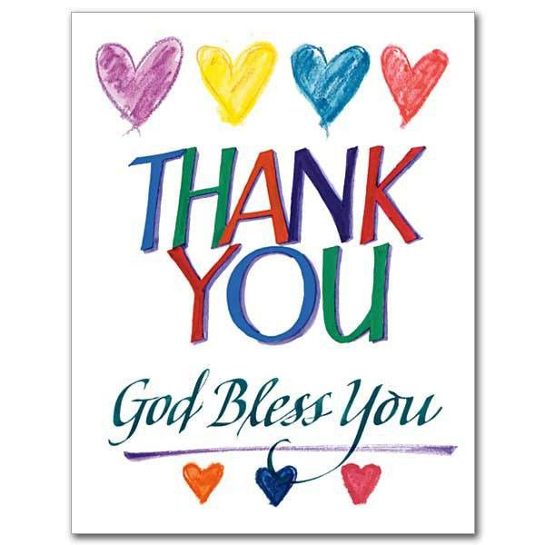 colorful heart thank you card above words god bless writting ...