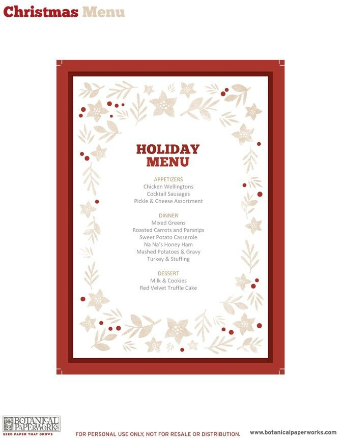 free printable} Holiday Dinner Decor | Blog | Botanical PaperWorks