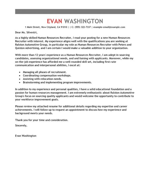 Best Recruiting and Employment Cover Letter Examples | LiveCareer