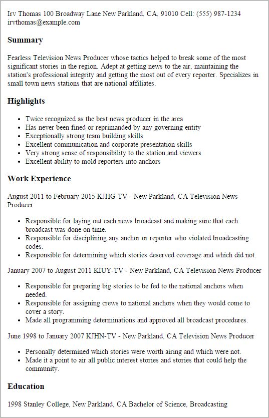 Fantastic Producer Resume 14 Web Producer - Resume Example