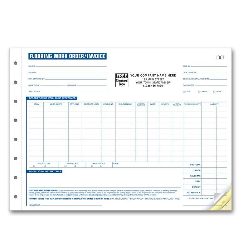 Flooring Contractor Invoice - Work Order | DesignsnPrint