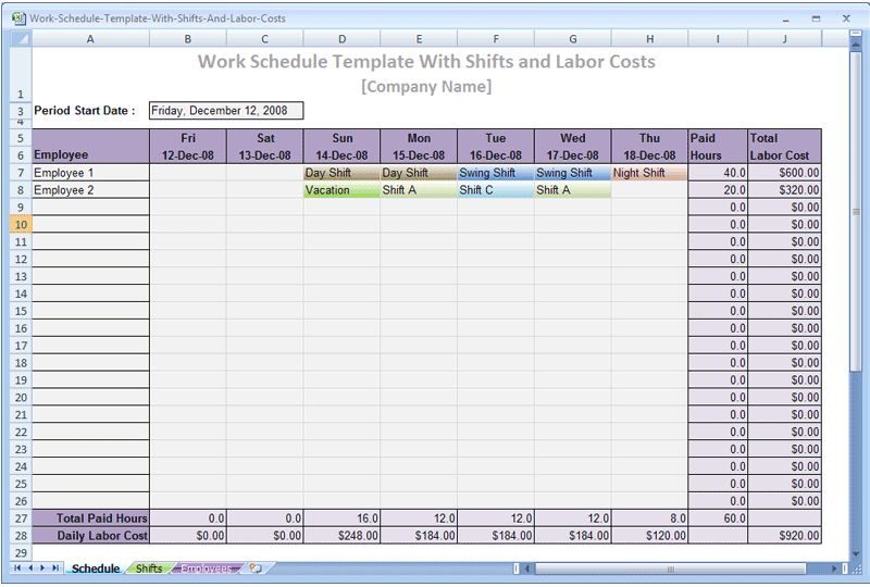 Download Construction Work Schedule Template with Shifts and Labor ...