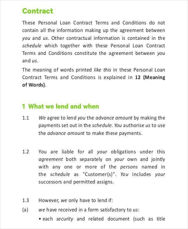 Loan Contract Template - 7+ Free PDF Documents Downloads   Free ...