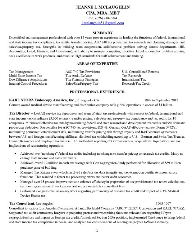 Property tax consultant sample resume