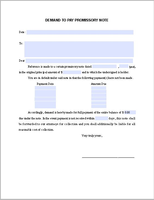 Demand Notice to Pay Promissory Note | Free Fillable PDF Forms