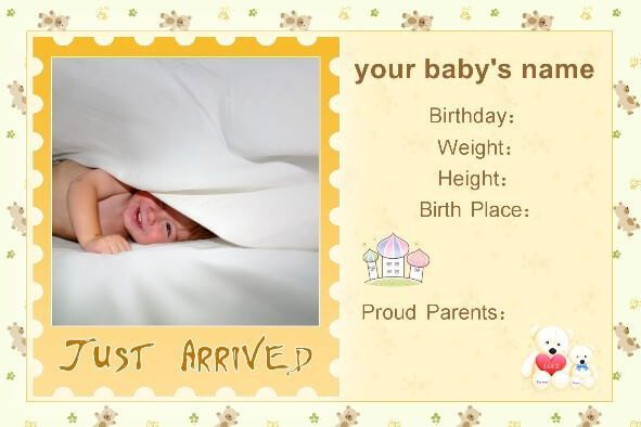 Free Baby Birth Announcement Templates | Baby Shower Ideas