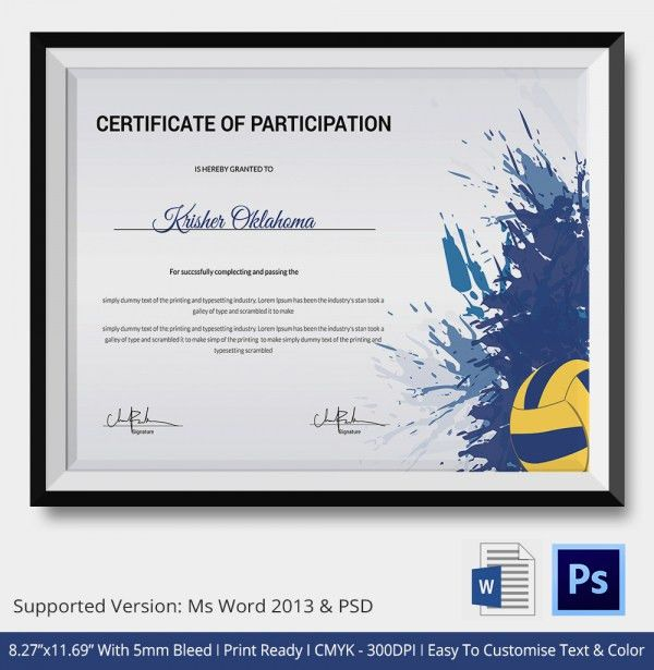 VolleyBall Certificate - 5+ Word, PDF Documents Download | Free ...