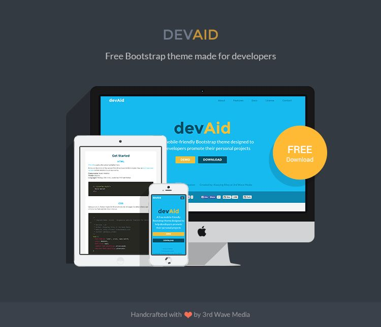 DEVAID - Free Bootstrap Theme for Developers - Responsive ...