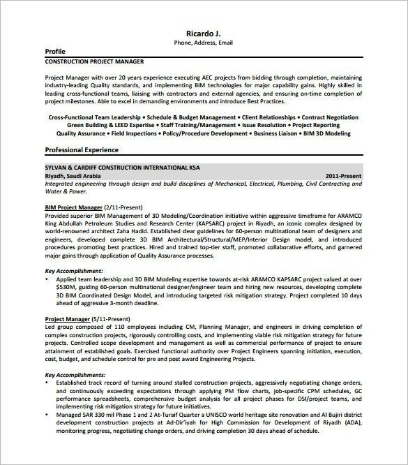 Engineering Project Manager Resume. engineering engineering ...