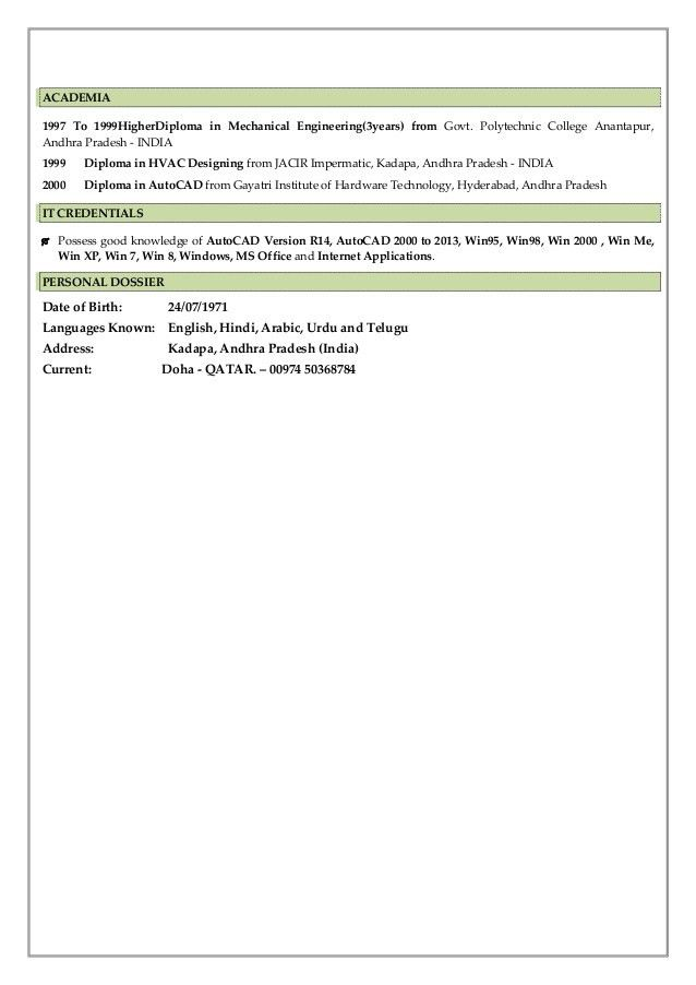 RESUME (Senior HVAC & Plumbing & QC Engineer)