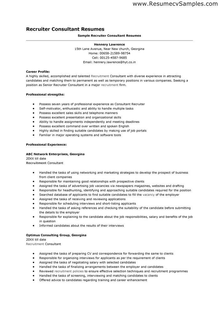 Sample Recruiter Resume | jennywashere.com