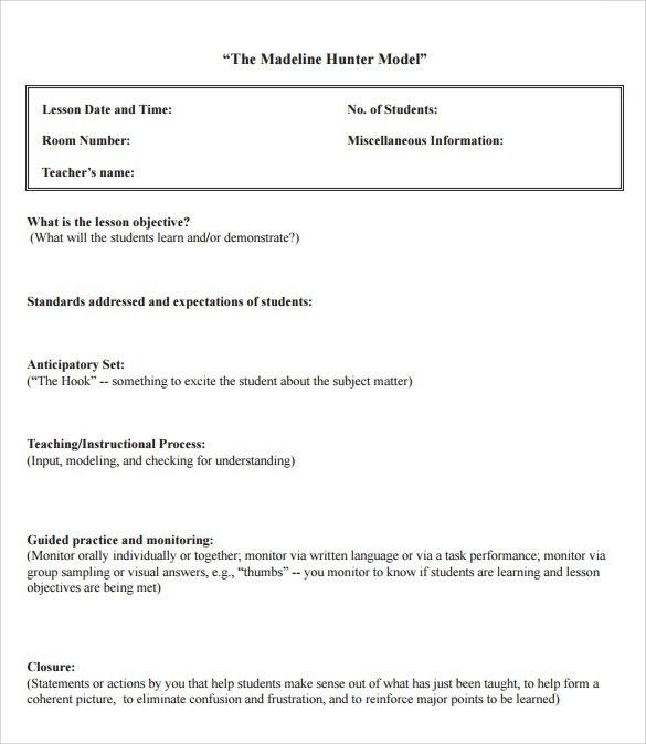 Sample Madeline Hunter Lesson Plan – 10+ Documents in PDF, Word
