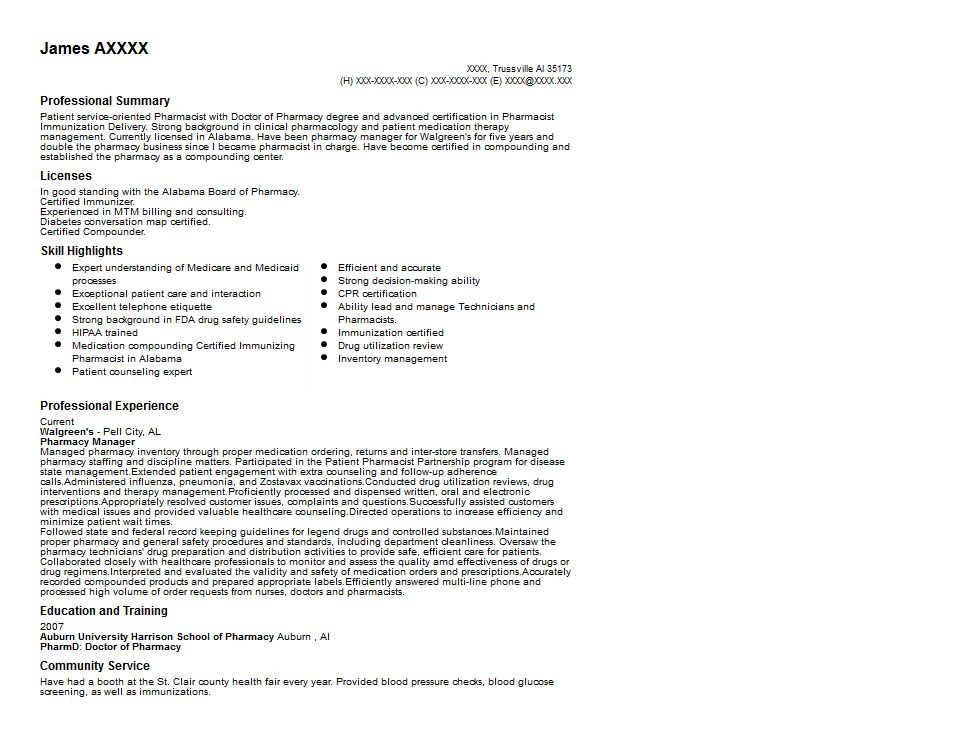 Pharmacy Manager Resume Sample | Quintessential LiveCareer