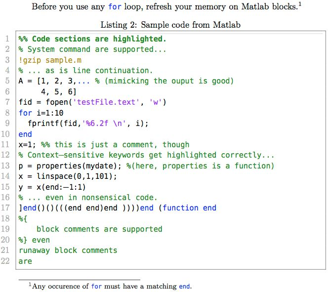 listings - What can I use to typeset MATLAB code in my document ...