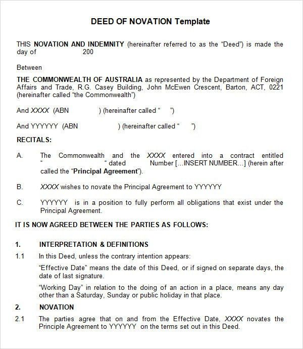 Template Novation Agreement Template View Sample Australia Novation ...