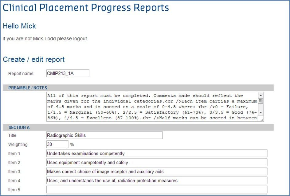 Clinical Placement - Edit report templates