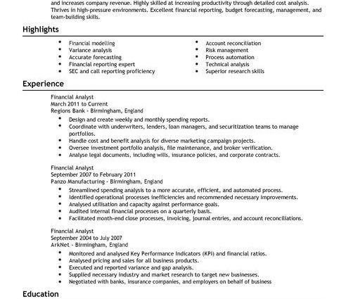 Financial Analyst CV Example Senior Business Analyst Resume ...