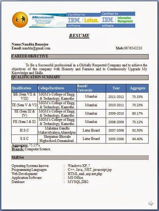 mca fresher resumes