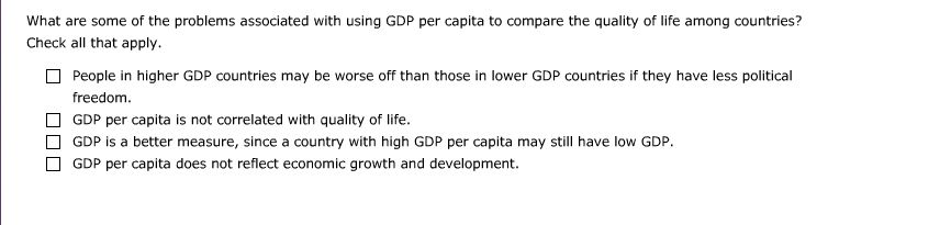 1. GDP Per Capita And Quality Of Life Aa Aa E. The... | Chegg.com