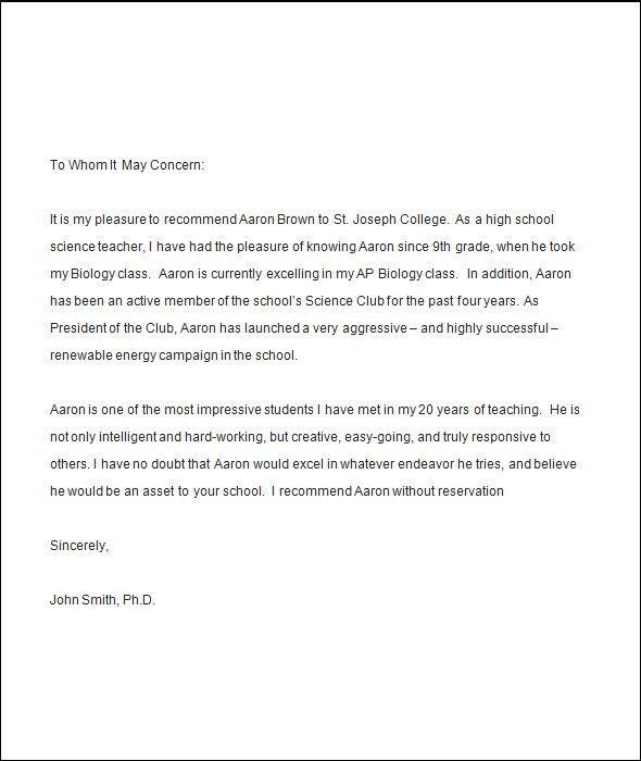 Recommendation Letter From Professor. Sample Recommendation Letter ...