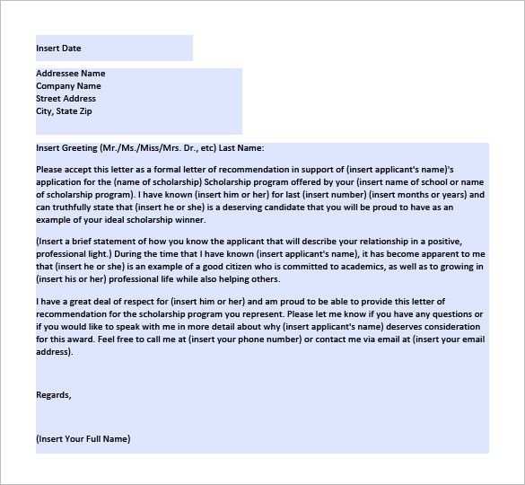 Letter of Recommendation for Scholarship – 8+ Free Word, Excel ...