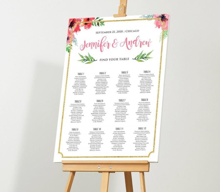 Wedding Seating Chart, Editable Seating Plan, Instant Download ...