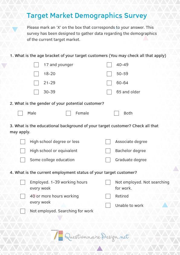Demographic Questionnaire Design | Questionnaire Design