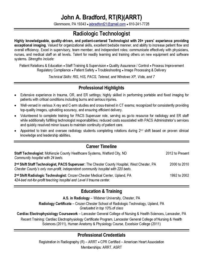 Radiologic Technologist Resume Sample | jennywashere.com