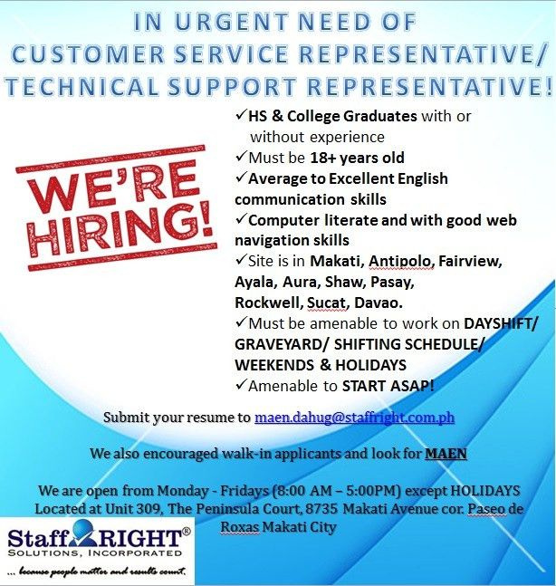 HIRING CALL CENTER AGENTS for DAY SHIFT ACCOUNTS | URGENT, Job ...