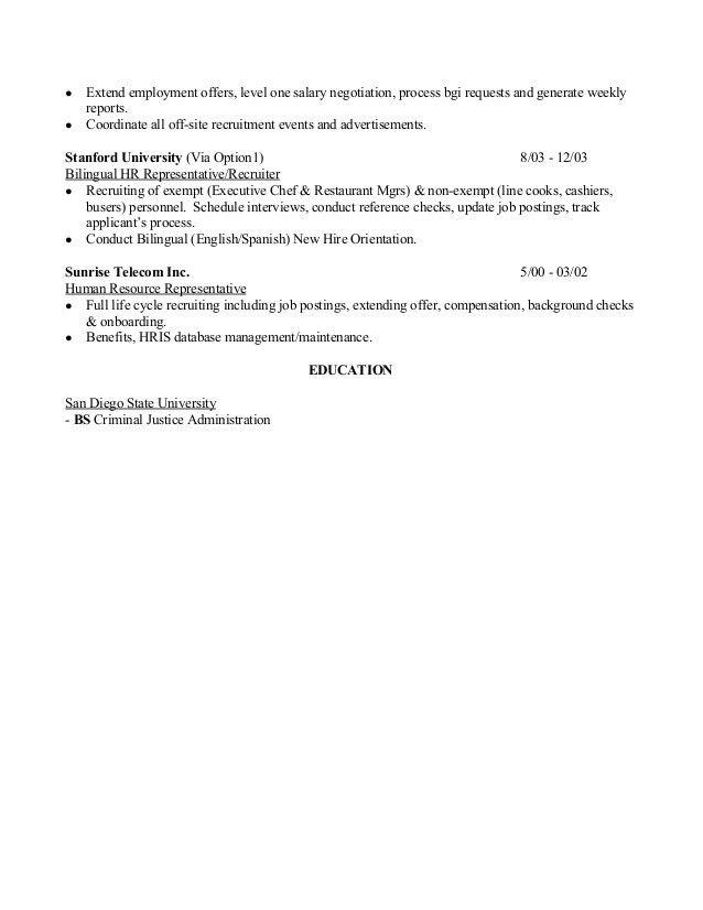 recruiter resume example sample resume for hr resume cv cover ...