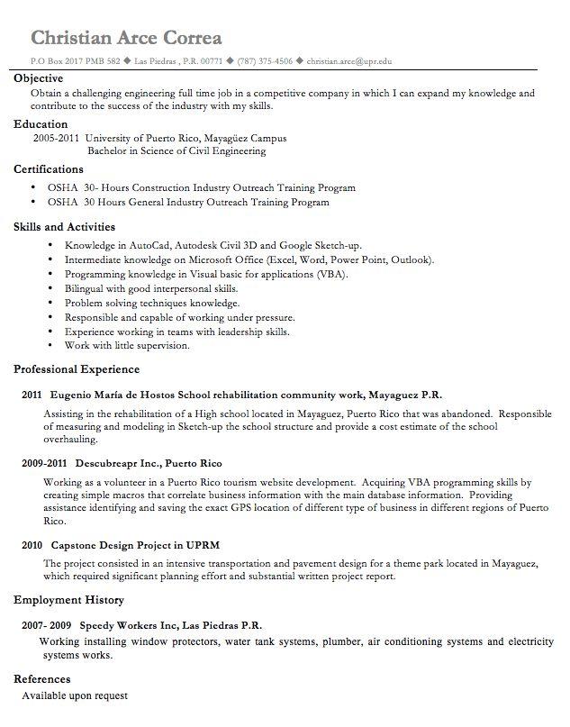 Plumber Engineering Resume Sample - RESUMEDOC