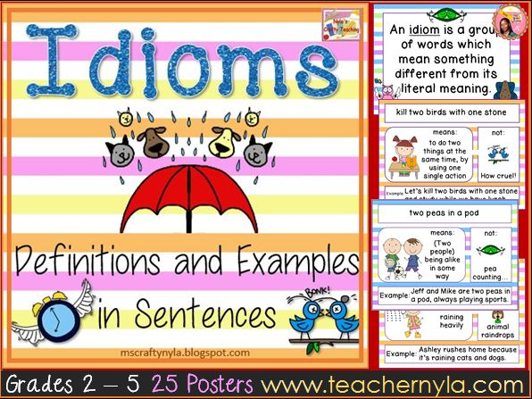 Idiom Posters with Pictures, Definitions and Examples by ...